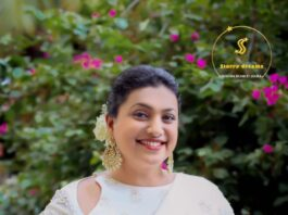 Roja selvamani in white saree by starry dreams for jabardasth