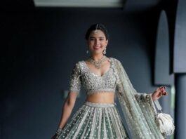 Rukhsar Dhillon in sage green lehnga by Frontier Raas for sister's wedding-3