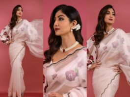 Shilpa Shetty in a blush pink saree by Prints for super dancer-featured
