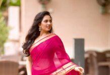 Srushti Dange in a pink saree by Unnati silks-3