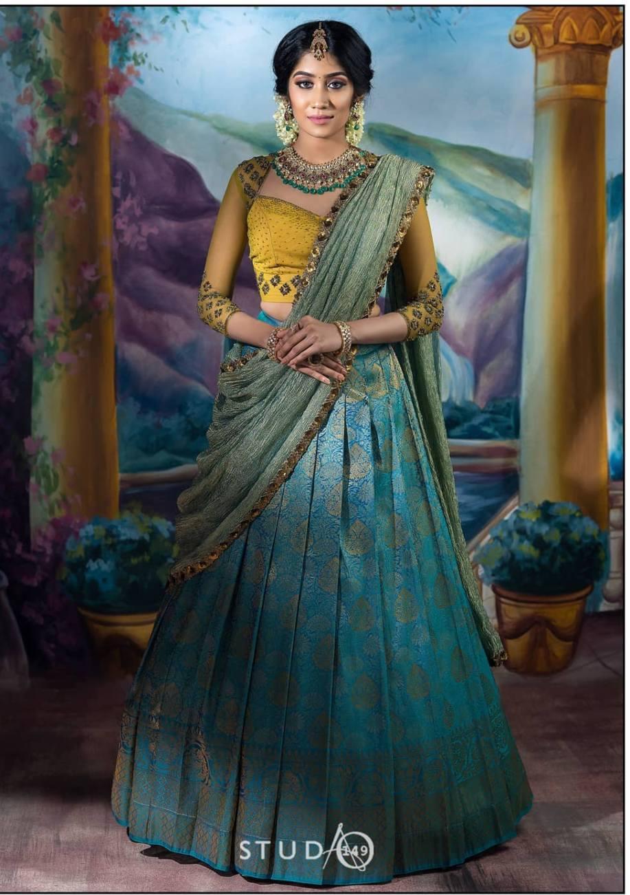 Turquiose and yellow half saree by studio149-1