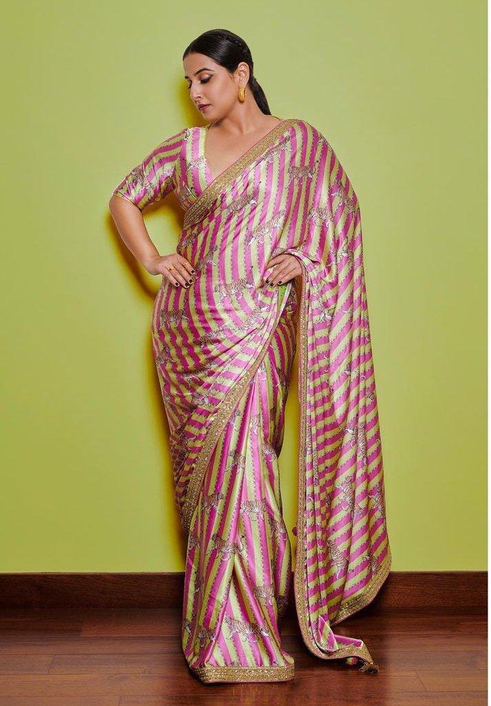 Vidya Balan in a pink Torani saree for Sherni promotions-1
