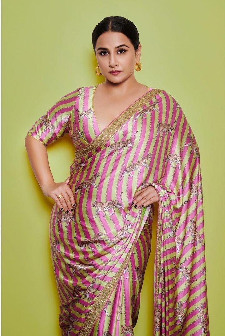 Vidya Balan in a pink Torani saree for Sherni promotions-2
