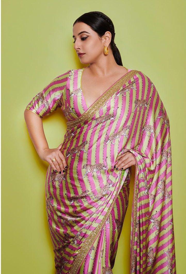 Vidya Balan in a pink Torani saree for Sherni promotions-3