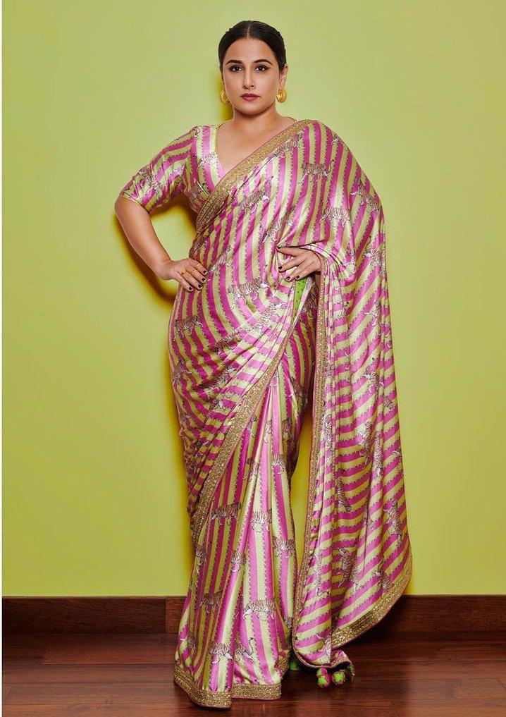 Vidya Balan in a pink Torani saree for Sherni promotions