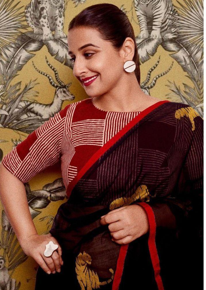 Vidya Balan in ghurni saree for sherni promotions-2