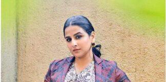 Vidya Balan in label anushree maxi dress for sherni promotions