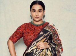 Vidya Balan in rajdeep ranawat saree for sherni-2