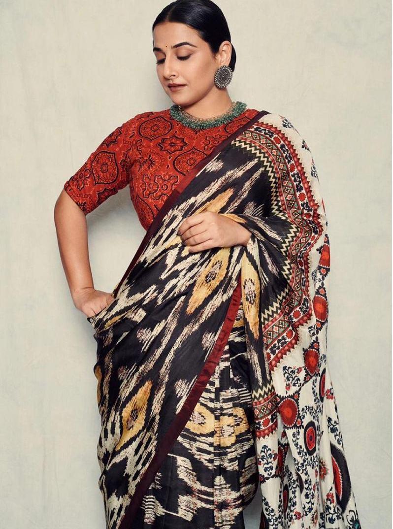 Vidya Balan in rajdeep ranawat saree for sherni-4