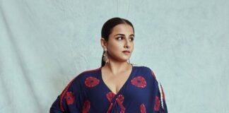 Vidya Balan in shibori midi dress and lungi by Nupur kani for sherni promotions-2