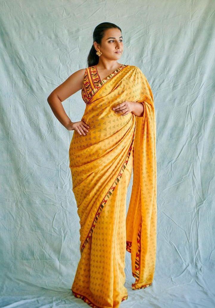 Vidya Balan in yellow saree by baise gaba for sherni promotions-2