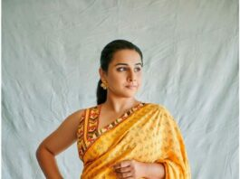 Vidya Balan in yellow saree by baise gaba for sherni promotions