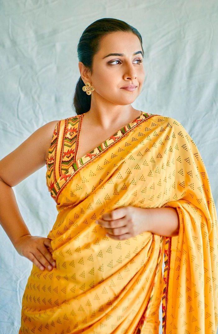 Vidya Balan in yellow saree by baise gaba for sherni promotions-3