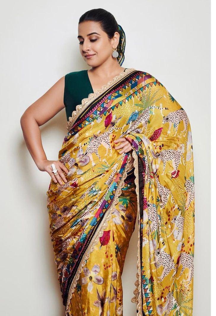 Vidya Balan in yellow saree by devyani Mehrotra for shernbi promotions-1