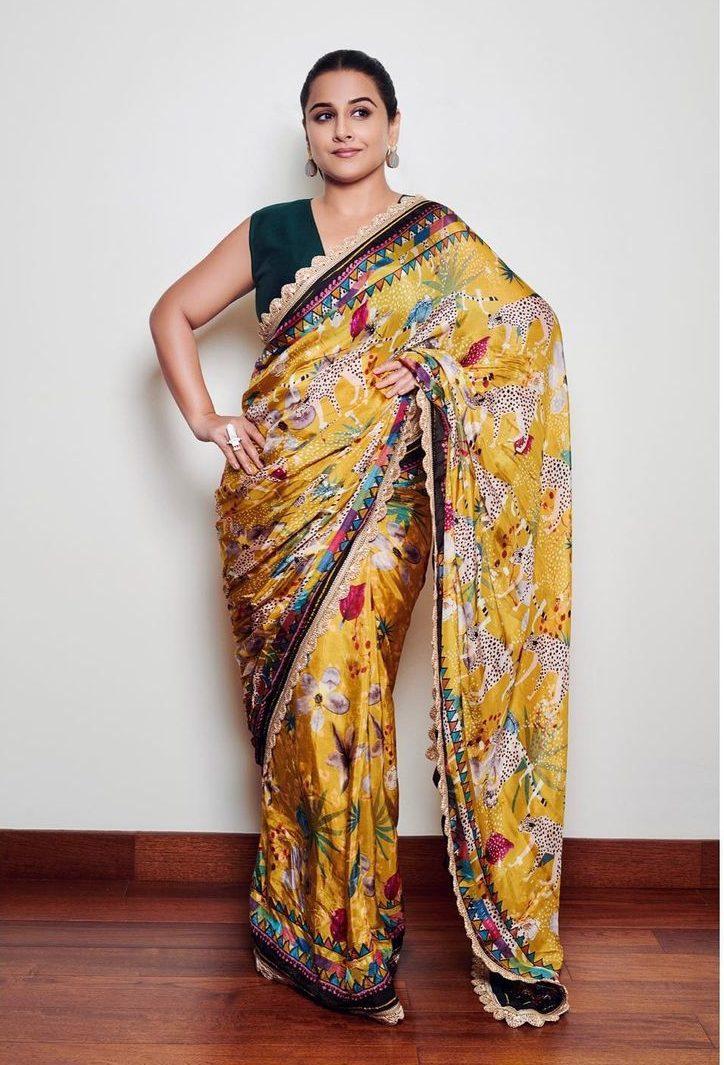 Vidya Balan in yellow saree by devyani Mehrotra for shernbi promotions-2