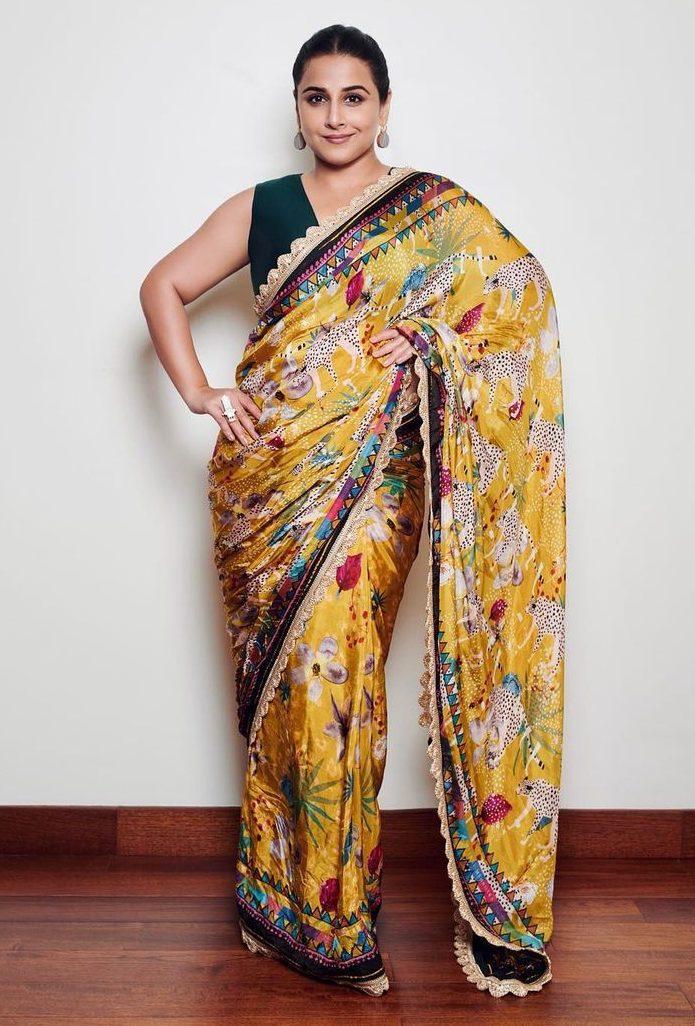 Vidya Balan in yellow saree by devyani Mehrotra for shernbi promotions-3