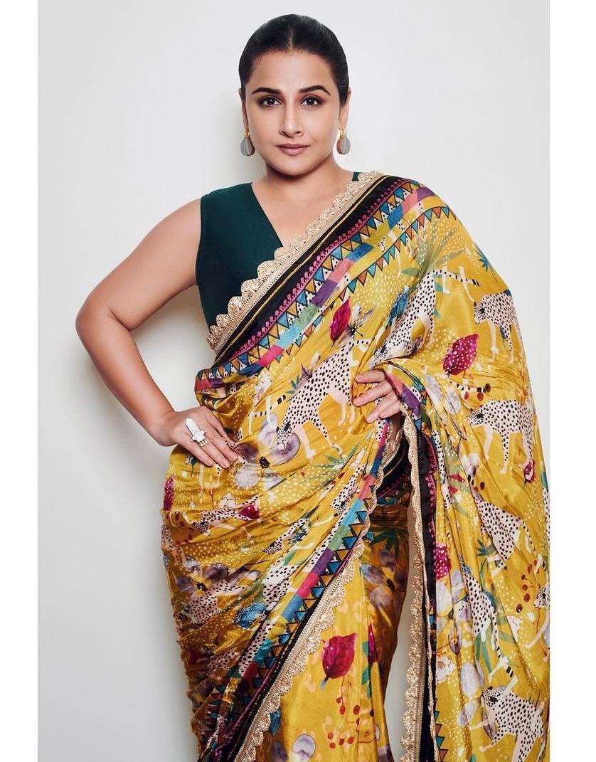 Vidya Balan in yellow saree by devyani Mehrotra for shernbi promotions