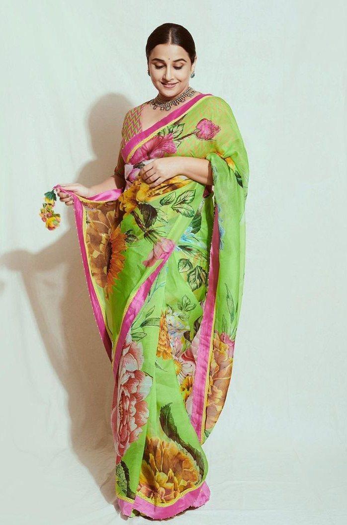 Vidya balan in a floral Torani saree for sherni promotions-1
