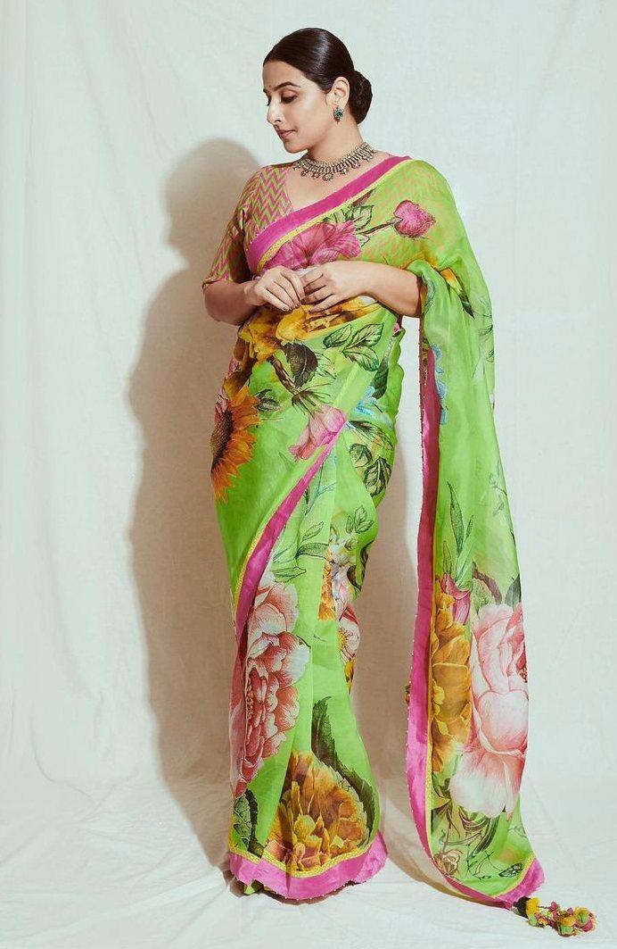 Vidya balan in a floral Torani saree for sherni promotions-2