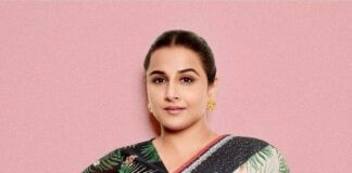 Vidya balan in a off white saree by Soup for sherni promotions!-2