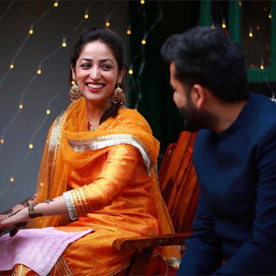 Yami Gautam in an orange kurta set for her mehendi-1