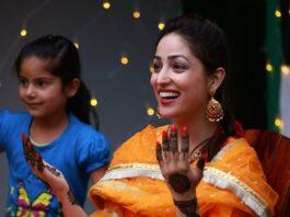 Yami Gautam in an orange kurta set for her mehendi