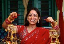 Yami Gautam in red saree at her pre wedding puja