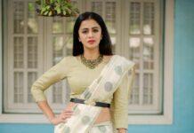 anjana Rangan in a white dotted saree
