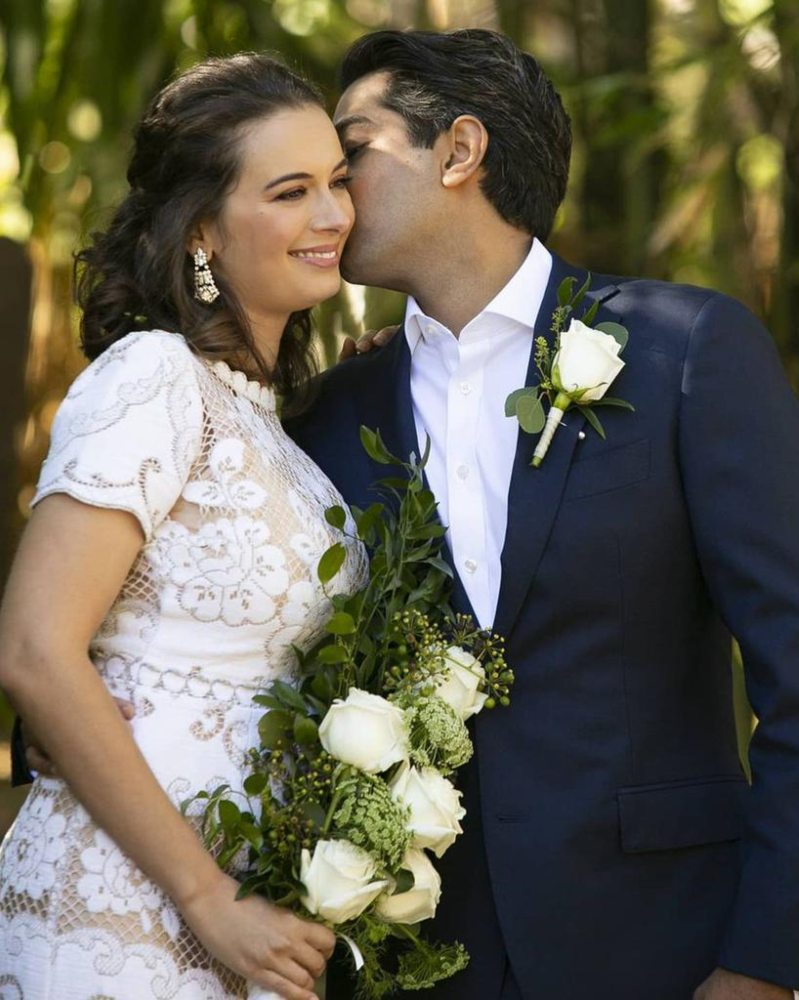 evelyn sharma in a vintage lace gown at her wedding