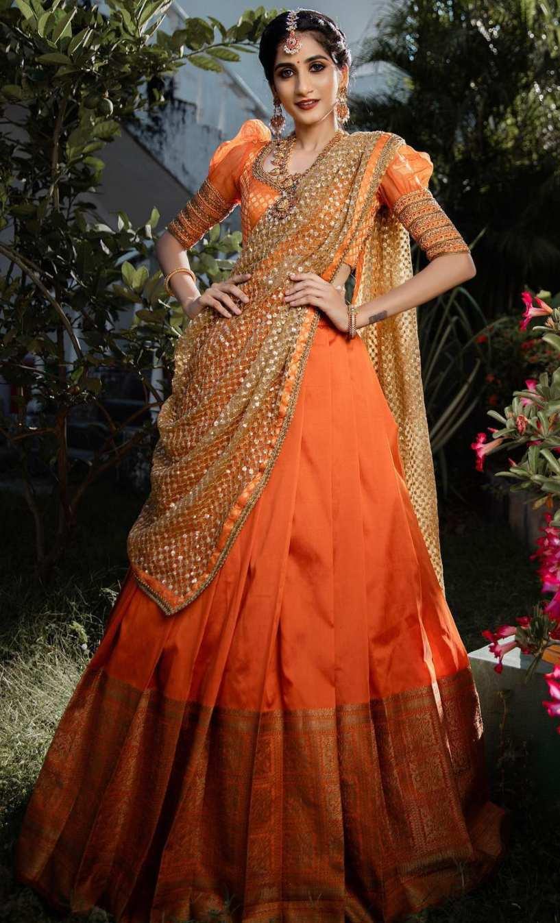 orange and gold half saree set-studio 149-1