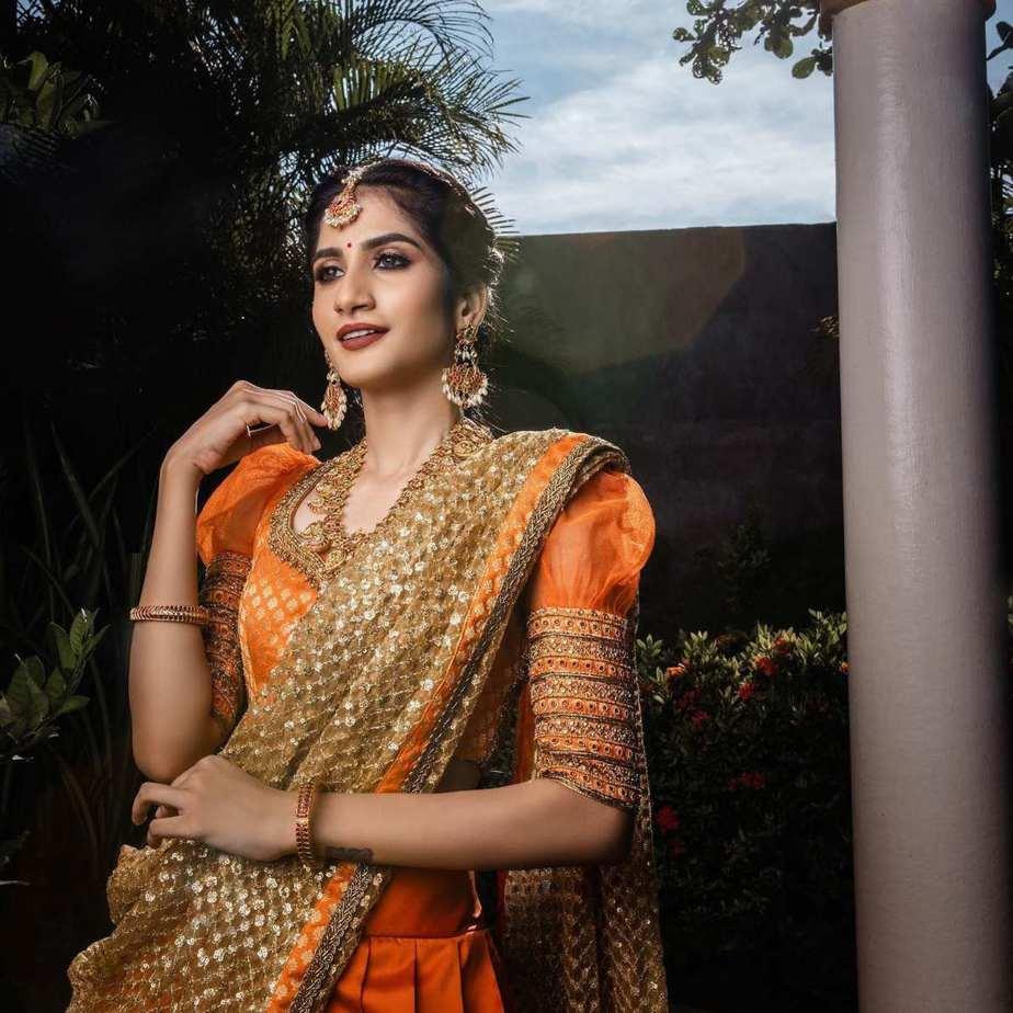 orange and gold half saree set-studio 149