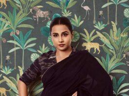 vidya balan in a black saree by Rouka for Sherni promotions!-4