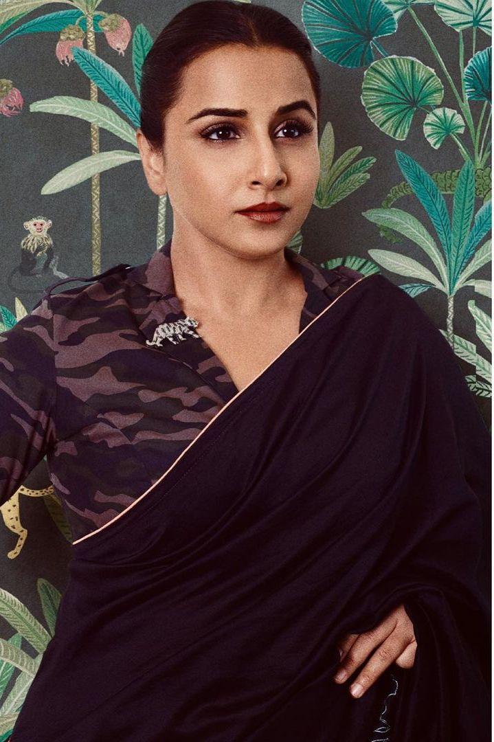 vidya balan in a black saree by Rouka for Sherni promotions!