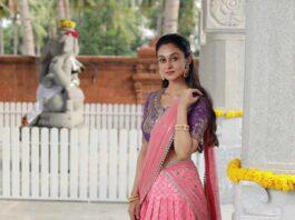 Aishwarya Arjun in pink half saree by Bhargavi kunnam for her family temple opening-1