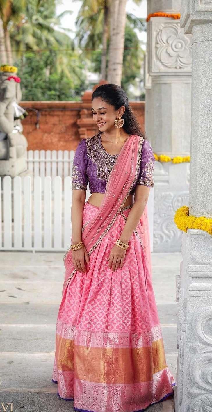 Aishwarya Arjun in pink half saree by Bhargavi kunnam for her family temple opening-4