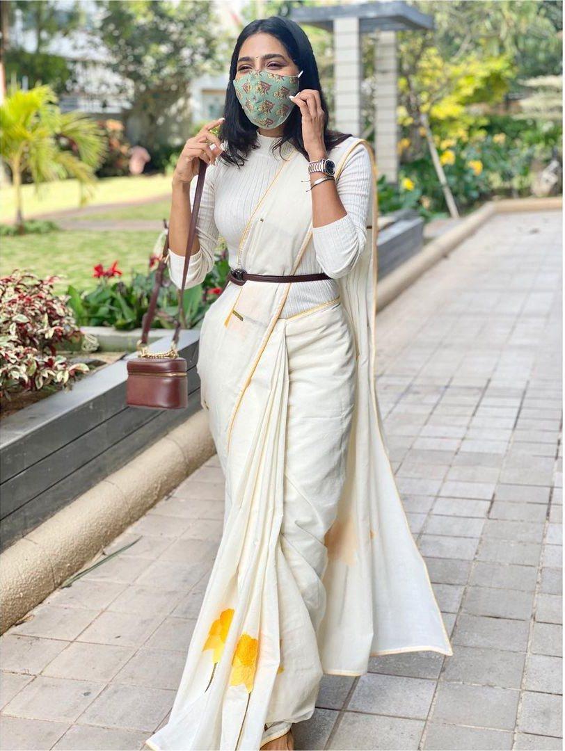 Aishwarya Lekshmi in an off white saree by rouka-2