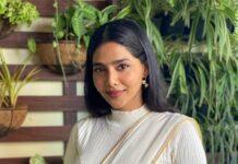 Aishwarya Lekshmi in an off white saree by rouka