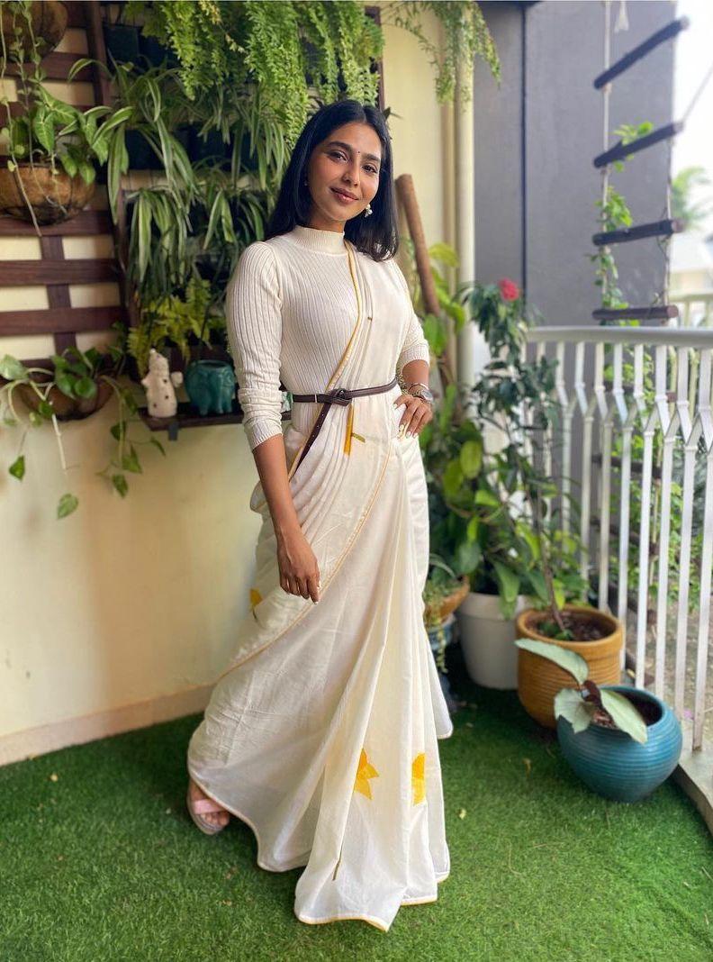 Aishwarya Lekshmi in an off white saree by rouka-3