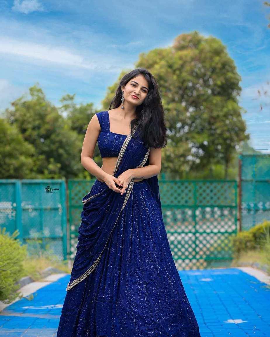 Ananya Nagalla in blue lehnga by madhavi art studio-1