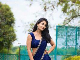 Ananya Nagalla in blue lehnga by madhavi art studio