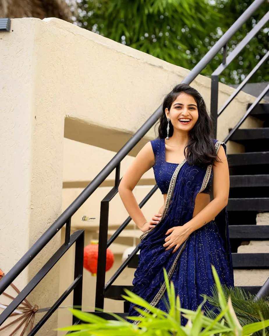 Ananya Nagalla in blue lehnga by madhavi art studio-4