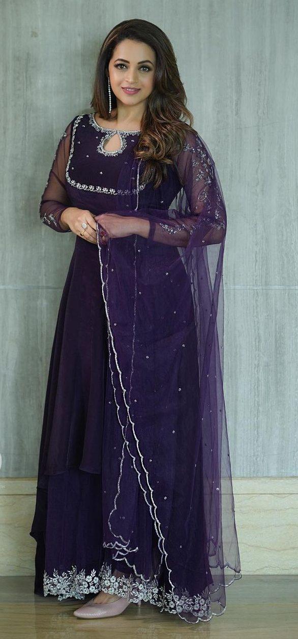 Bhavana Menon in a purple anarkali by jeune Maree-1