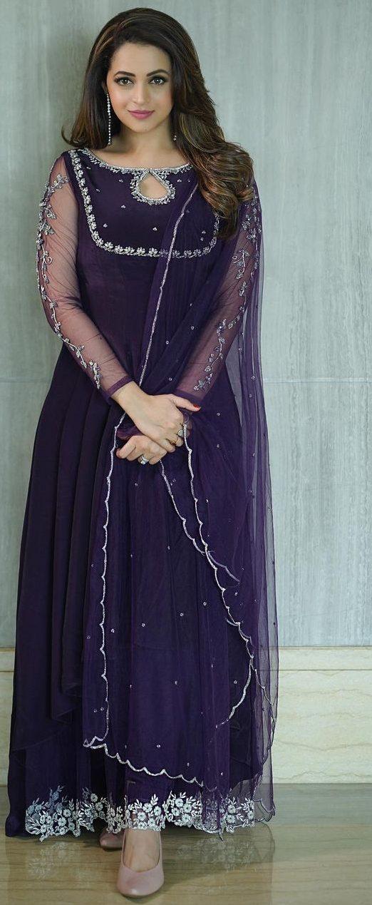 Bhavana Menon in a purple anarkali by jeune Maree-2