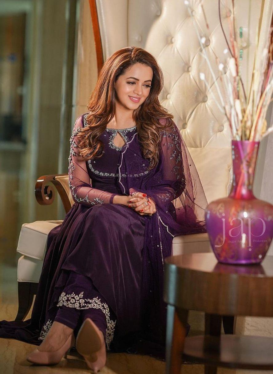 Bhavana Menon in a purple anarkali by jeune Maree-4