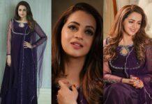 Bhavana Menon in a purple anarkali by jeune Maree-featured