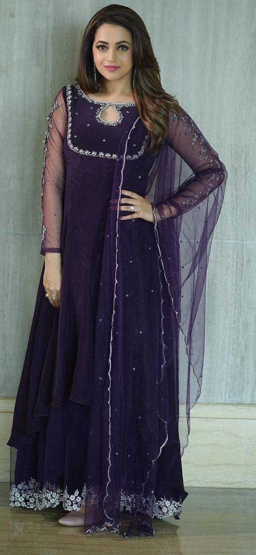 Bhavana Menon in a purple anarkali by jeune Maree