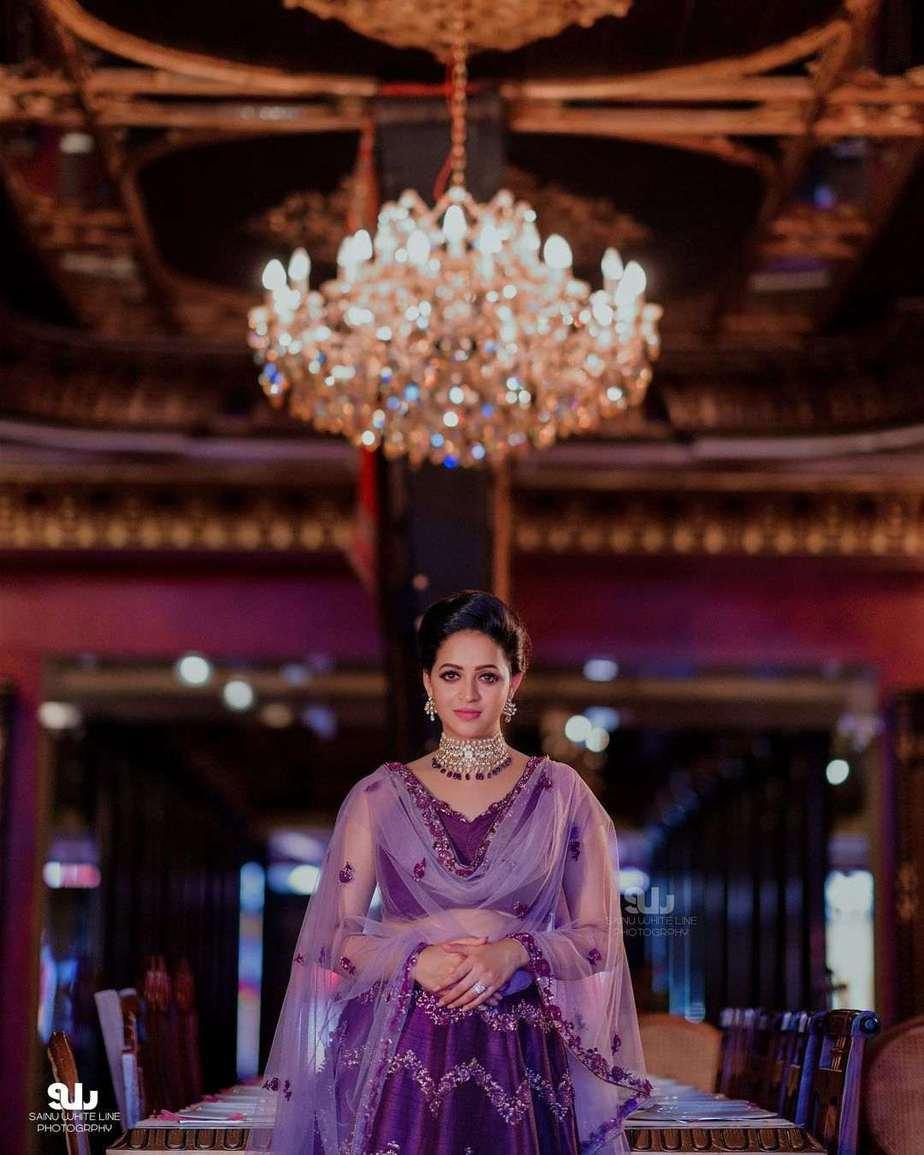 Bhavana Menon in a purple lehenga by label m designs-1
