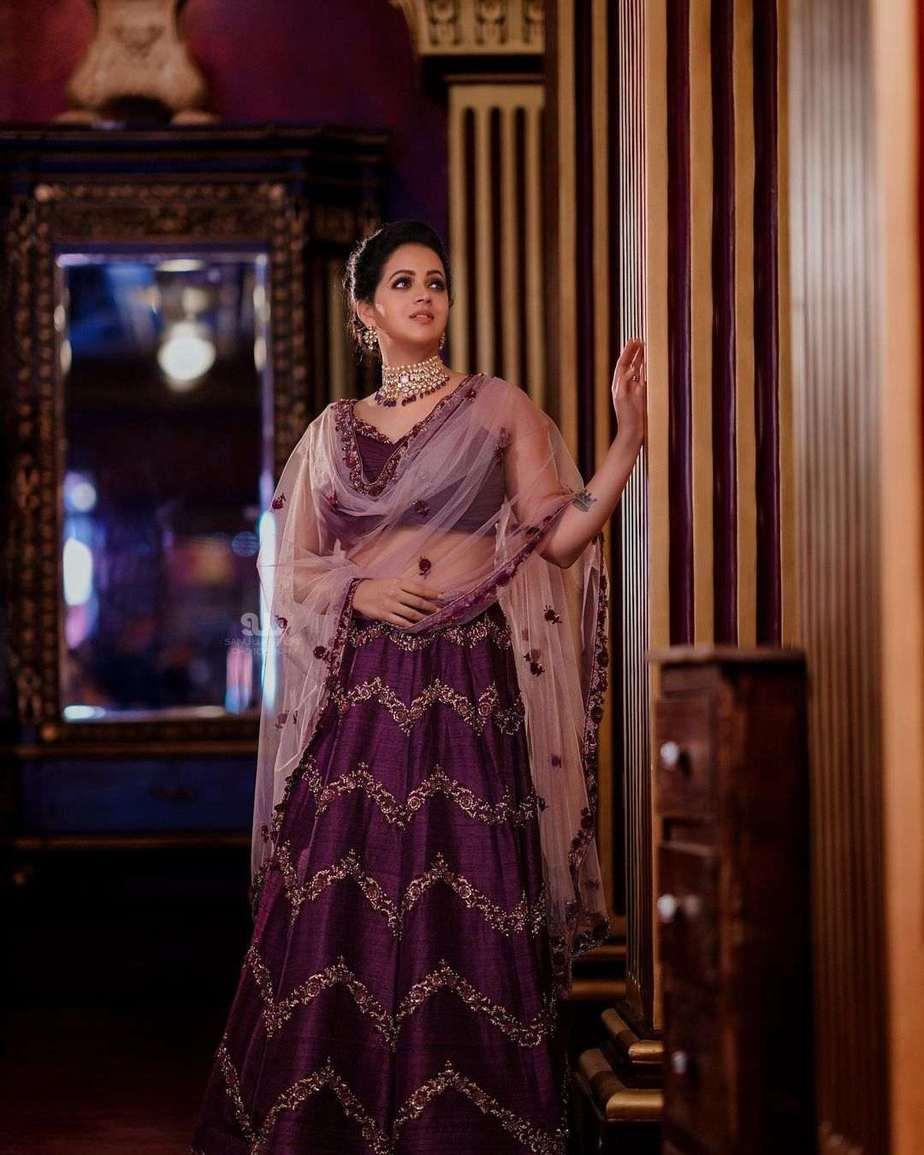 Bhavana Menon in a purple lehenga by label m designs