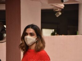 Deepika Padukone in red balenciaga sweat shirt outside bhansali's office-2