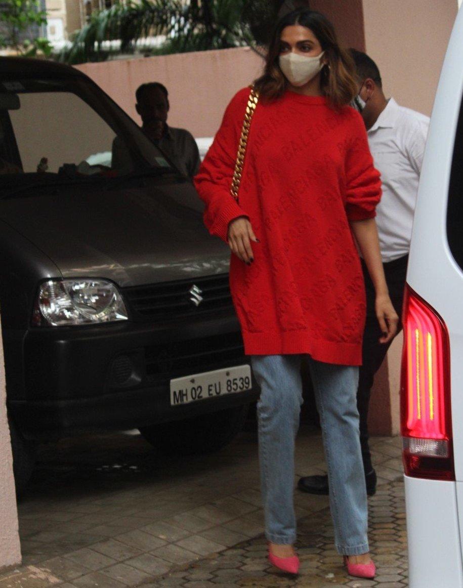 Deepika Padukone in red balenciaga sweat shirt outside bhansali's office